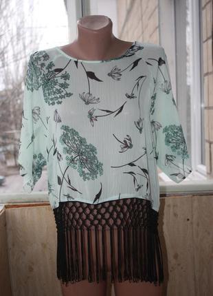 Блуза футболка мятная с бахромой макраме бохо пляжная