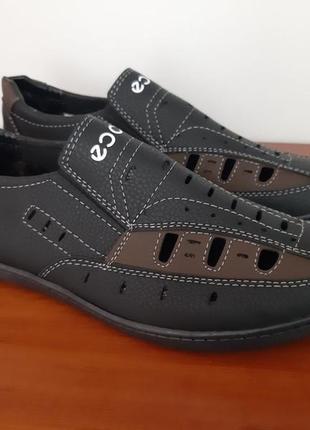 Туфли мужские летние черные прошитые - туфлі чоловічі літні чорні прошиті