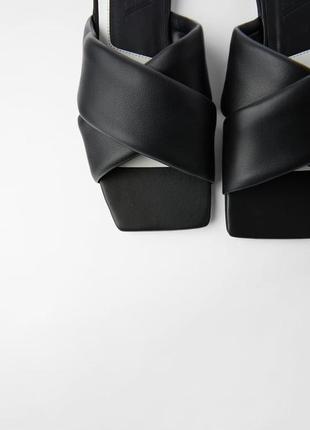Шлёпанцы с квадратным носком zara кожа