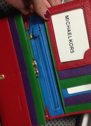 Красный кожаный кошелёк майкл корс michael kors