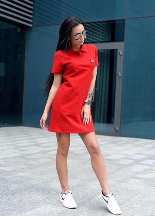 Спортивное платье поло хлопок красное