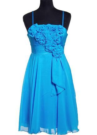 """Коктейльное платье """"голубые розы""""."""