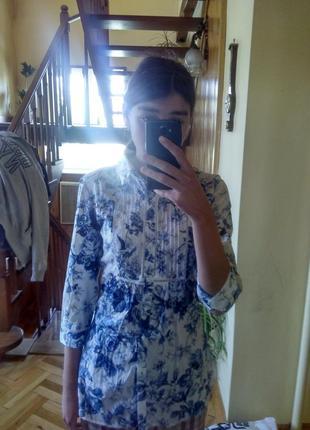 Туніка рубашка в квітковий принт elogy m сорочка туника