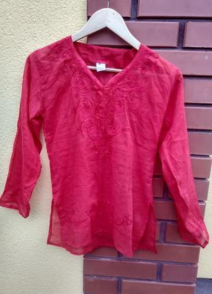 Червона блузка s 100% cotton рубашка сорочка