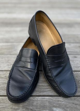 Туфли пенни лоферы tod's чёрные кожаные