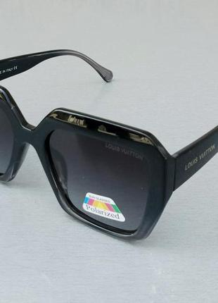 Louis vuitton очки женские солнцезащитные черные с серым с градиентом поляризированые