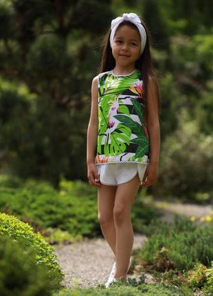 Хлопковый комплект для девочки 3в1, топ джунгли, пальмовые листья, попугаи + шорты+повязка