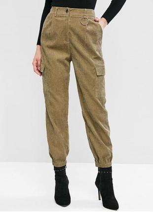 Вельветовые брюки-джоггер / штаны с карманами