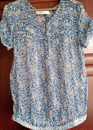 Шёлковый топ базовая блузка в цветочный принт 100% шёлк