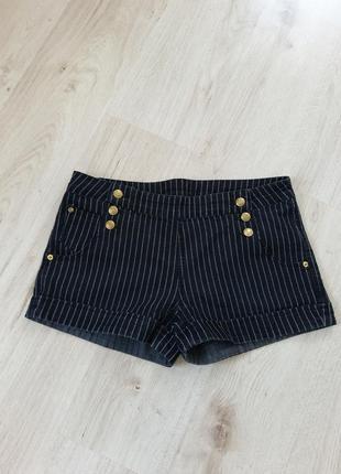 Шорты denim co, шорты большого размера, шорты в полоску, винтажные шорты, джинсовые шорты
