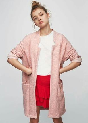 Плюшевый кардиган/пальто pull and bear розовое пальто/кардиган pull&bear