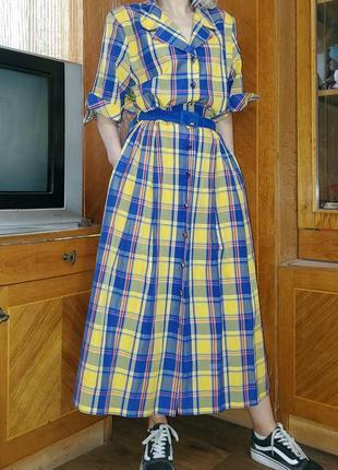 Платье миди винтаж. винтажное. клетчатое. с поясом. в клетку англия