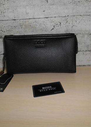 Мужская сумка клатч барсетка мужской hugo boss, кожа, италия 9097
