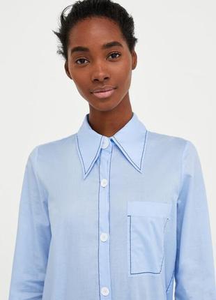 Рубашка с макси воротником zara