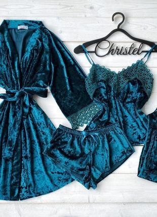 Велюровая пижама четверка, піжама четвірка