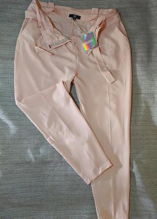 Брюки пудровые высокая талия штаны літні брючки