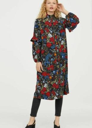 Шикарное платье миди h&m в цветы