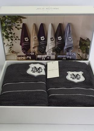 Полотенца, набор полотенец maison d'or 3шт alain anthrasit (для мужчин)
