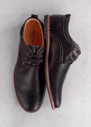 Стильные черные мужские туфли с перфорацией летние большой размер