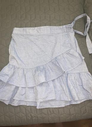 Голубая юбка с рюшами