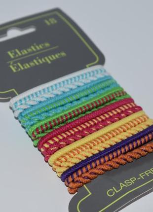 Набор 18 разноцветных резинок для волос elastics 18 pcs no metal elastics usa оригинал сша