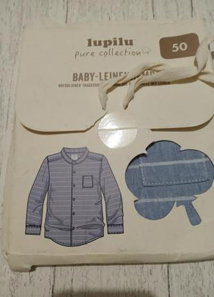 Новая льняная рубашка для новорожденого lupilu, р.50