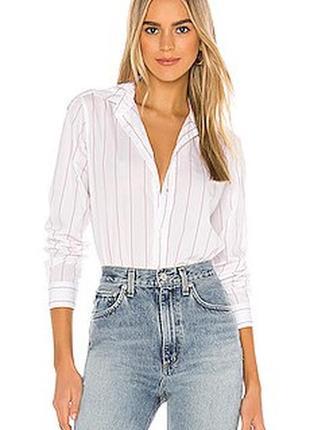 Белая рубашка в мелкую полоску