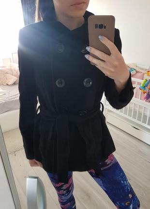 Черное пальто m-l, пальтишко, куртка