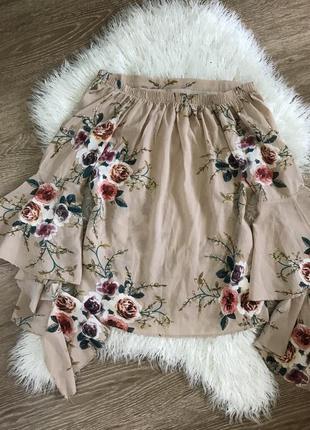 Блуза блузка с цветами принт легкая воланы на плечиках