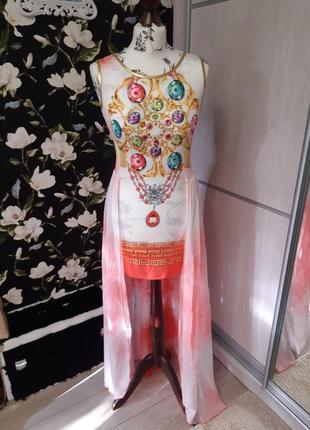 Нарядное платье для фотосета, длинный шлейф, открытая спина
