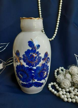 Ваза фарфор полонное ручная кобальтовая роспись позолота винтаж ссср