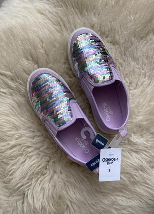 Фиолетовые мокасины в пайетках на девочку oshkosh