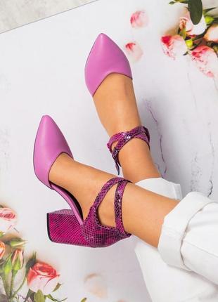 Кожаные открытые туфли босоножки