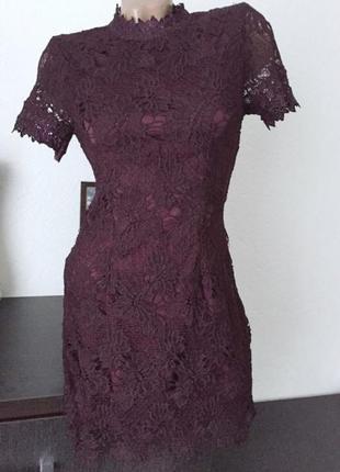 Платье  кружевное вечернее коктейльное  очень красивое р36s