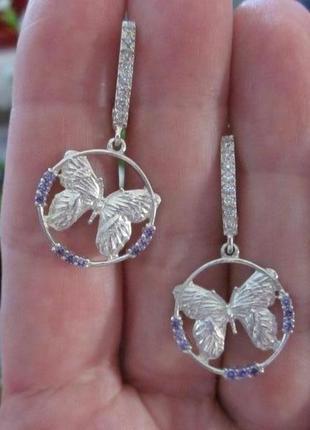 Гламурные летние серьги из серебра 925, бабочки