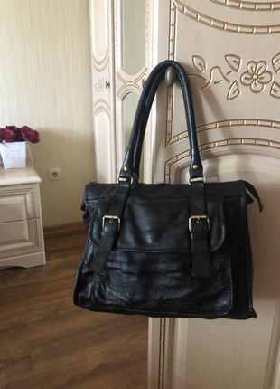 Практичная вместительная большая  кожаная сумка, натуральная кожа,