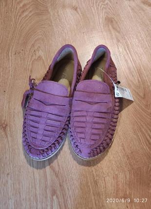 Кожанные туфли лоферы эспадрильи