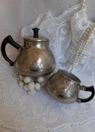 ☕🍫чайник заварочный 🍬кофейник🧁 ссср мельхиор металл винтаж советский