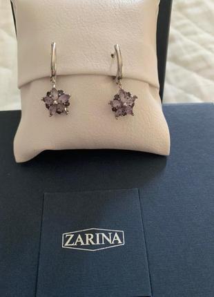 Серьги с подвеска и zarina серебро 925+родий