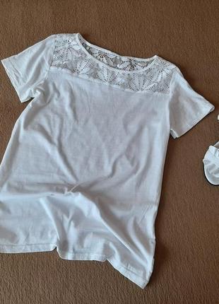 Хлопковая футболка с кружевом h&m