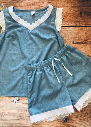 Нежная летняя пижама с кружевом домашний костюм,распродажа