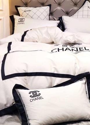 Комплект постельного белья хлопок с вышивкой в стиле chanel