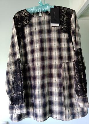 Лёгкая блуза zara с аппликацией кружева
