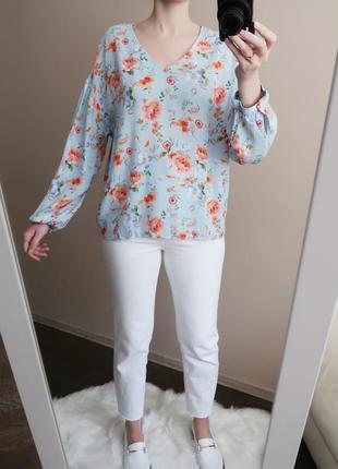 Легкая блузка из вискозы с воздушными рукавами в красивый цветочный принт / 100% вискоза