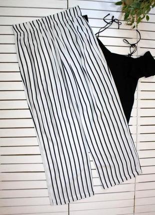 Летние белые широкие брюки в полоску вискоза m&s p. m-l