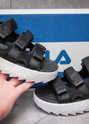 Сандали женские, мужские fila disruptor, черные (фила дисраптор, босоножки, летняя обувь)