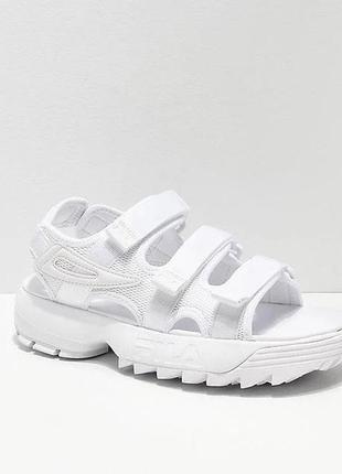 Сандали женские fila disruptor, белые (фила дисраптор, босоножки, летняя обувь, сабо)