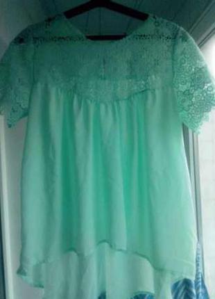 Шифоновая мятная кружевная туника блузка
