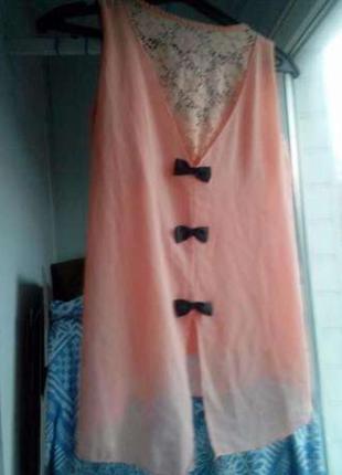 Туника кружевная с бантиком персиковая пудра