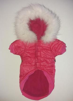 Яркая жилетка(безрукавка) куртка для собак с натуральным мехом. размер s-m.